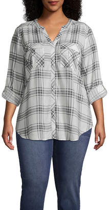 A.N.A 3/4 Roll Tab Sleeve Pleat Pocket Button-Front Shirt - Plus