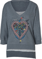 Twenty8Twelve Grey Heather Embroidered Cotton Sweatshirt