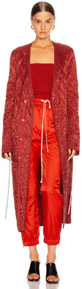 Rick Owens Long Quilted Coat in Cherry | FWRD