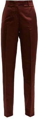 Calvin Klein Side-stripe Straight-leg Satin Trousers - Brown Multi