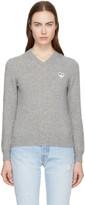 Comme des Garcons Grey Heart Patch V-Neck Sweater