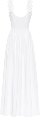 Brock Collection Rosalia appliqued cotton-poplin maxi dress