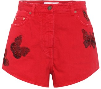 Valentino Embroidered cotton-denim shorts