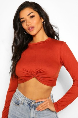boohoo Knot front long sleeve top