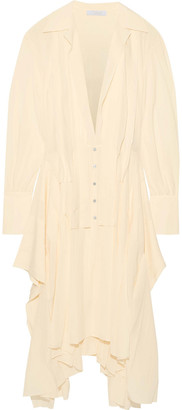 Chloé Asymmetric Pleated Silk-chiffon Shirt Dress