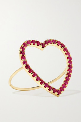 Jennifer Meyer Large Open Heart 18-karat Gold Ruby Ring