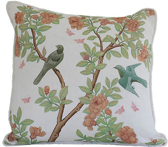 Dawn Wolfe Design Chinoiserie 20x20 Pillow - White/Green Linen
