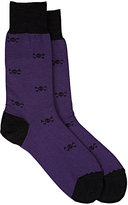 Barneys New York Men's Skull-Print Trouser Socks-PURPLE, BLACK