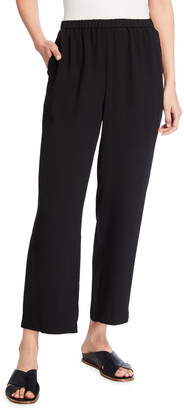 Eileen Fisher Straight-Leg Silk Georgette Crepe Ankle Pants