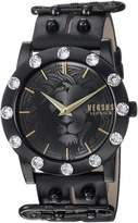 Versus By Versace Women's 'MIAMI CRYSTAL' Quartz Stainless Steel and Leather Casual Watch, Color: (Model: S73060016)