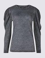 Limited Edition Metallic Round Neck Puff Sleeve T-Shirt
