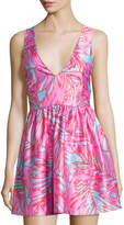 Romeo & Juliet Couture Fit-and-Flare Palm-Print Dress, Pink/Blue