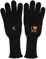 Raf Simons Black Embroidered I Love You Gloves