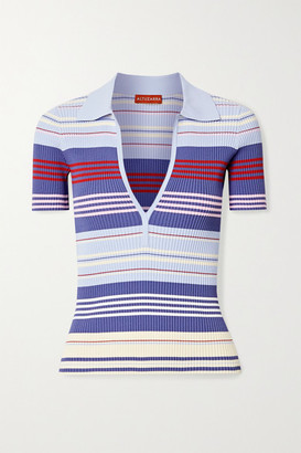 Altuzarra Hatch Striped Ribbed-knit Top - Light blue