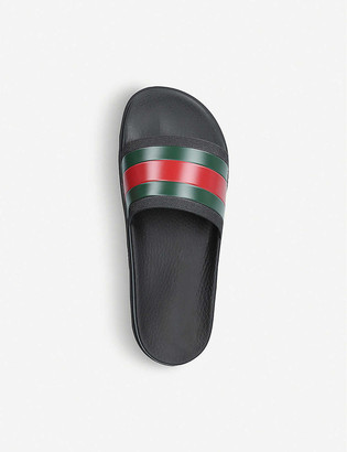 Gucci Pursuit striped rubber sliders