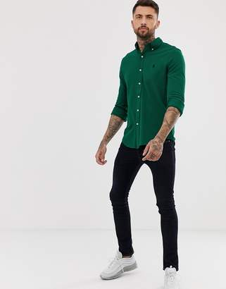 Polo Ralph Lauren slim fit pique shirt with button down collar in green