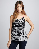 Eight Sixty Printed Contrast-Strap Tank