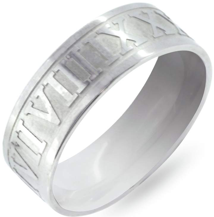 a2c404432345f Men's Stainless Steel Roman Numeral Ring