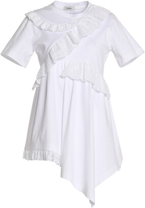 GOEN.J Ruffled Broderie Anglaise-trimmed Cotton-jersey Top