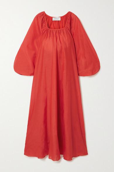 Matteau + Net Sustain Decolette Oversized Organic Cotton And Silk-blend Maxi Dress - Red