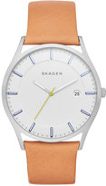 Skagen Men's Slim Holst Natural Leather Strap Watch 40mm SKW6282