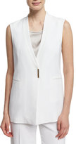 Peserico V-Neck Long Vest, White