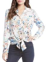 Karen Kane Floral Tie-Front Button-Down Shirt
