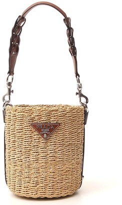 Prada Logo Plaque Woven Bucket Bag