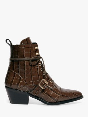 AllSaints Katy Croc Effect Leather Strap Boots, Khaki