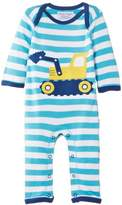 Toby Tiger Baby Boys Organic Digger Sleepsuit Striped Romper,3-6 Months