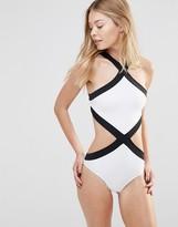 Goddiva Contrast Cut Away Swimsuit