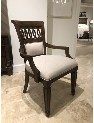 Stanley Furniture Old Town Linen Upholstered Queen Anne back Arm Chair in Barrister (Set of 2