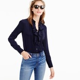 J.Crew Tuxedo ruffle top in stretch silk georgette