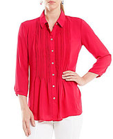 Investments 3/4 Sleeve Pintuck Blouse