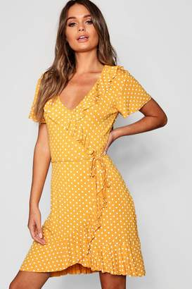 boohoo Polka Dot Wrap Front Ruffle Tea Dress