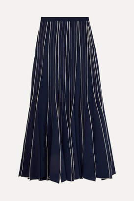 Tory Burch Pleated Embroidered Silk-crepe Maxi Skirt - Navy