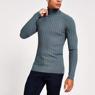River Island Mens Grey roll neck muscle fit ribbed jumper