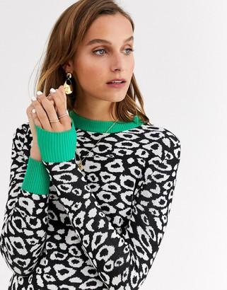 Gianni Feraud leopard print knit sweater