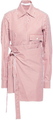 Victoria Beckham Striped Cotton-poplin Wrap Shirt