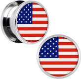 """Body Candy Stainless Steel United States Flag Screw Fit Double Flare Plug Pair 9/16"""""""