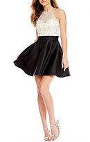 B. Darlin High Neck Beaded Bodice Color Block Fit and Flare Dress
