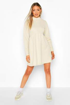 boohoo High Neck Long Sleeve Smock Sweatshirt Dress