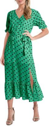 CeCe Disco Dot Puff Sleeve Midi Dress