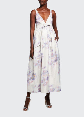 Brock Collection Floral-Print Fit-&-Flare Tie-Waist Gown
