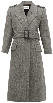 Saint Laurent Notched Lapels Virgin-wool Herringbone Coat - Womens - Grey White