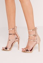 Missguided Buckle Three Strap Barely There Heeled Sandals Rose Gold