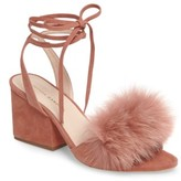 Loeffler Randall Women's Nicky Genuine Fox Fur Ankle Wrap Sandal