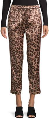 Mother The Lounger Leopard-Print Ankle Pants