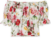 Dolce & Gabbana Off-the-shoulder Floral-print Cotton Blouse - Off-white