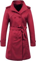ZSHOW Women's Long Double Breasted Trench Coat Lapel Jackets With Belts, US
